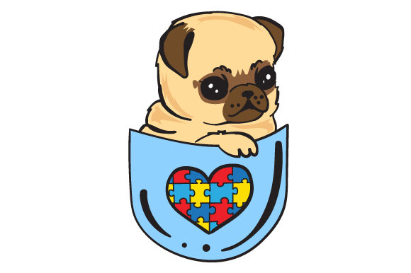 Puppy in a Shirt Pocket with the Autism Puzzle Awareness Craft Cut File By Creative Fabrica Crafts - Image 1