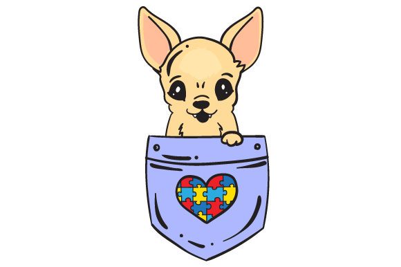 Download Free Puppy In A Shirt Pocket With The Autism Puzzle Svg Cut File By for Cricut Explore, Silhouette and other cutting machines.