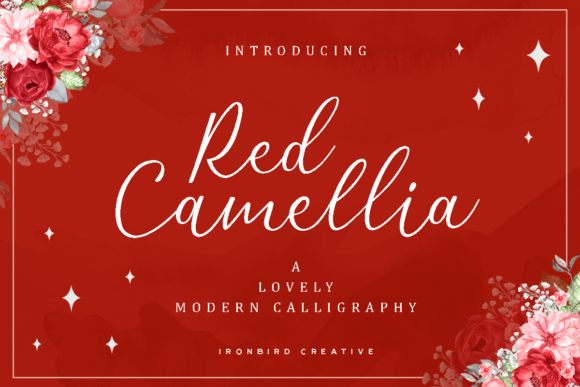 Print on Demand: Red Camellia Script & Handwritten Font By ironbirdcreative