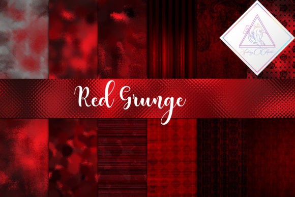 Print on Demand: Red Grunge Digital Paper Graphic Textures By fantasycliparts