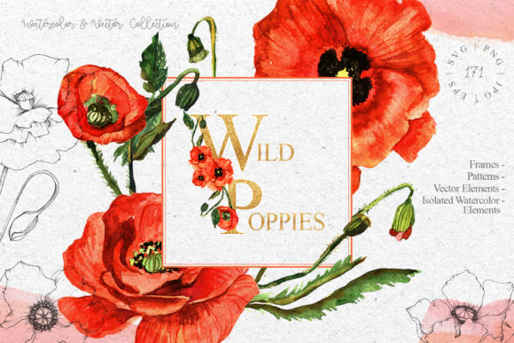 Print on Demand: Red Poppies Flowers Watercolor Graphic Illustrations By MyStocks - Image 1