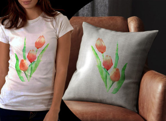 Red Tulips Watercolor Graphic Illustrations By Ambar Art - Image 2