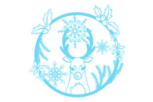 Reindeer in a Floral Wreath with Snowflakes Intricate cuts Craft Cut File By Creative Fabrica Crafts