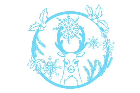 Download Free Reindeer In A Floral Wreath With Snowflakes Svg Cut File By for Cricut Explore, Silhouette and other cutting machines.