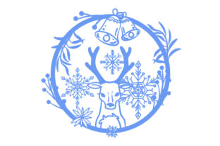 Reindeer in a Floral Weath with Snowflakes Intricate cuts Craft Cut File By Creative Fabrica Crafts