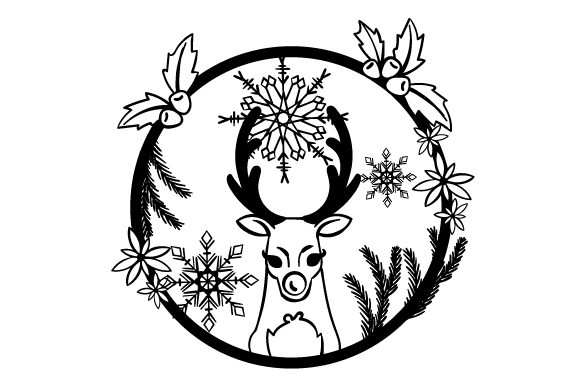 Reindeer in a Floral Wreath with Snowflakes Craft Design By Creative Fabrica Crafts Image 2