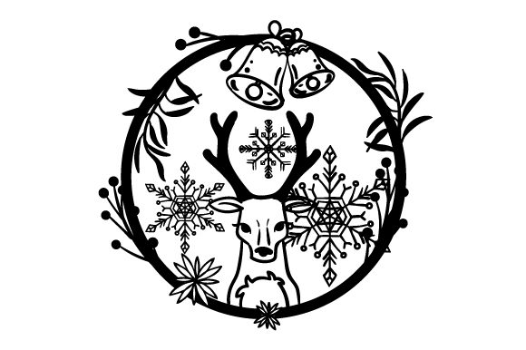 Download Free Reindeer In A Floral Weath With Snowflakes Svg Cut File By for Cricut Explore, Silhouette and other cutting machines.
