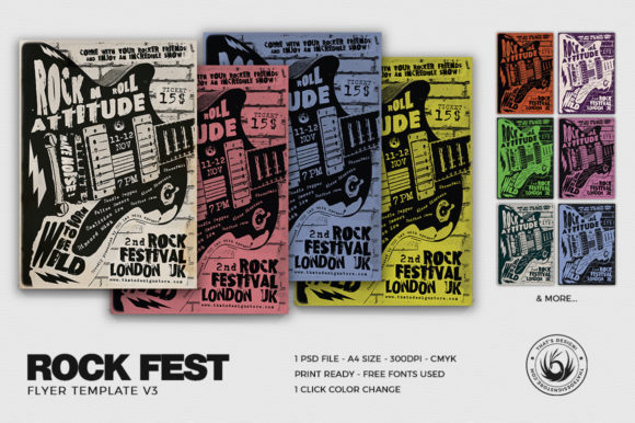 Download Free Rock Festival Flyer Template Graphic By Thatsdesignstore for Cricut Explore, Silhouette and other cutting machines.
