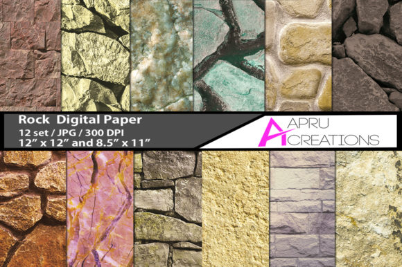 Print on Demand: Rock Stone Digital Papers, Rock Stones Background Graphic Patterns By aparnastjp