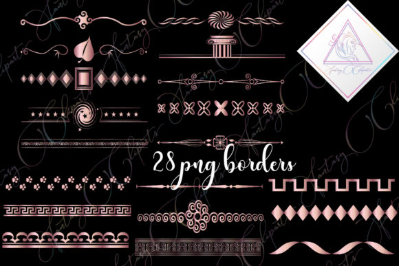 Print on Demand: Rose Gold Borders Clipart Graphic Illustrations By fantasycliparts