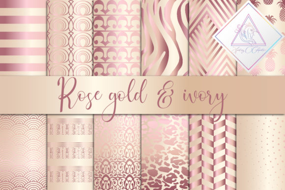 Print on Demand: Rose Gold & Ivory Digital Paper Graphic Textures By fantasycliparts