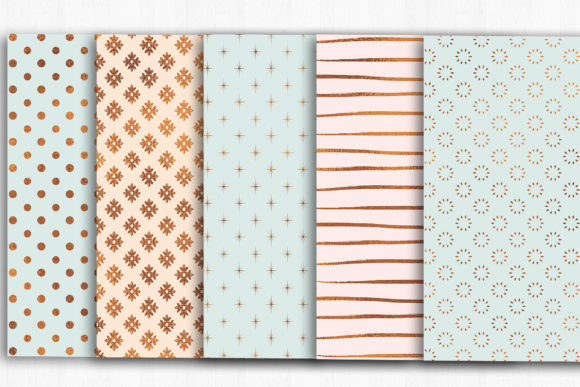 Rose Gold, Mint, Blush Digital Paper Graphic Patterns By BonaDesigns - Image 3