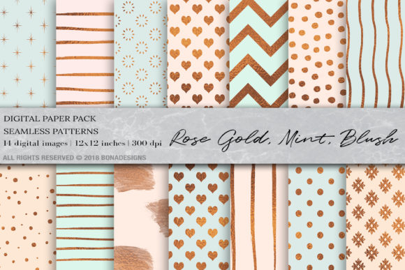 Rose Gold, Mint, Blush Digital Paper Graphic Patterns By BonaDesigns
