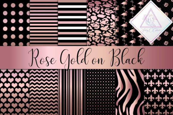 Print on Demand: Rose Gold on Black Digital Paper Graphic Textures By fantasycliparts