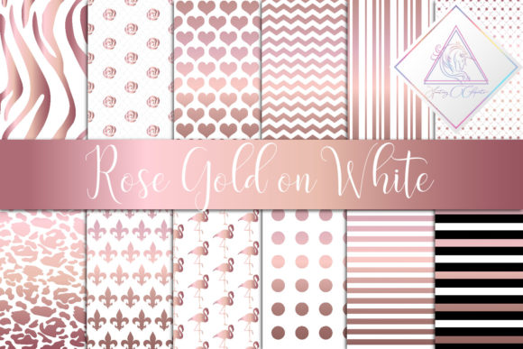 Print on Demand: Rose Gold on White Digital Paper Graphic Textures By fantasycliparts