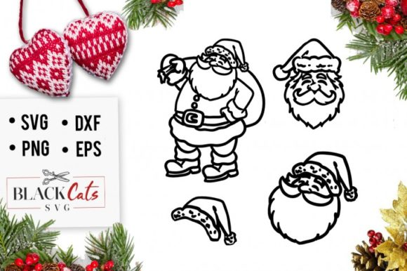 Santa Claus Faces Graphic Crafts By BlackCatsMedia