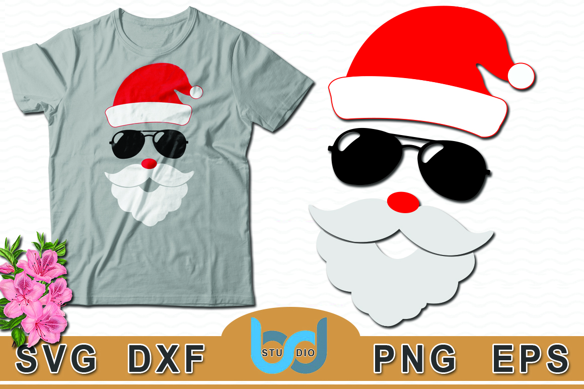 Download Free Santa Face Santa With Sunglasses Svg Christmas Svg Tshirt Design for Cricut Explore, Silhouette and other cutting machines.