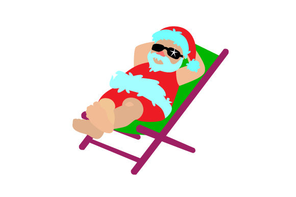 Download Free Santa Sunbathing On The Beach Svg Cut File By Creative Fabrica for Cricut Explore, Silhouette and other cutting machines.