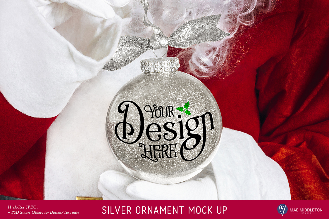Download Free Santa S Silver Glitter Christmas Ornament Mock Up Graphic By for Cricut Explore, Silhouette and other cutting machines.