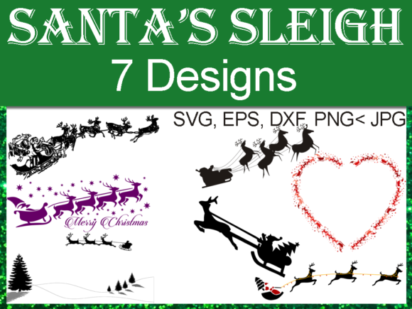 Download Free Santa S Sleigh And Reindeer Graphic Bundle Grafico Por Quiet for Cricut Explore, Silhouette and other cutting machines.