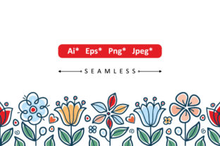 Print on Demand: Seamless Floral Border Graphic Patterns By zoyali