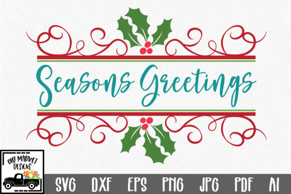 Download Free Seasons Greetings Christmas Cut File Graphic By SVG Cut Files