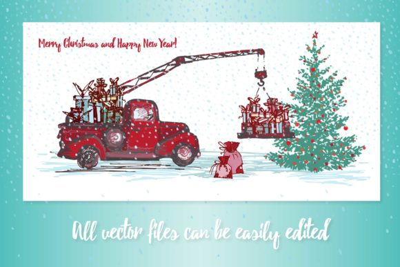 Download Free Set Of Hand Drawn Sketch Christmas Tree And Vintage Festive for Cricut Explore, Silhouette and other cutting machines.