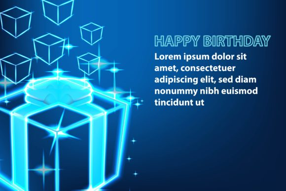 Print on Demand: Shine Gift Box, Happy Birthday Banner Grafik Hintegründe von ojosujono96