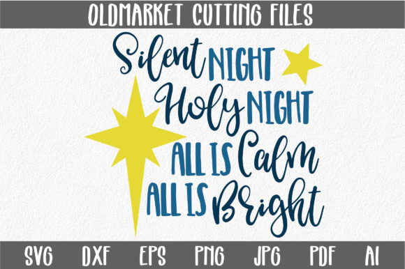 Print on Demand: Silent Night Cut File - Christmas Graphic Crafts By oldmarketdesigns
