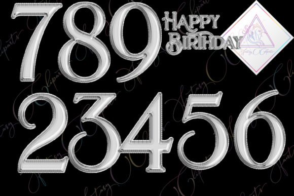 Print on Demand: Silver Foil Balloon Numbers Graphic Illustrations By fantasycliparts