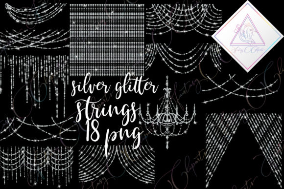 Print on Demand: Silver Glitter String of Lights Clipart Graphic Illustrations By fantasycliparts