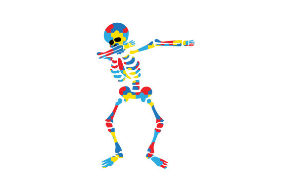 Skeleton Made out of Autism Puzzle on His Own, Dabbing Craft Design By Creative Fabrica Crafts Image 1