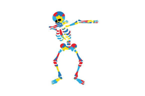 Download Free Skeleton Made Out Of Autism Puzzle On His Own Dabbing Svg Cut File By Creative Fabrica Crafts Creative Fabrica for Cricut Explore, Silhouette and other cutting machines.