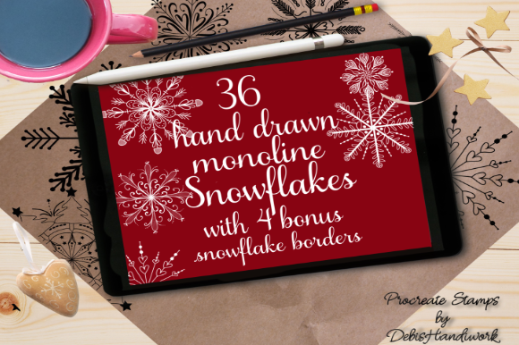 Download Free Snowflake Monoline Procreate Stamps Brushes Graphic By Debra for Cricut Explore, Silhouette and other cutting machines.