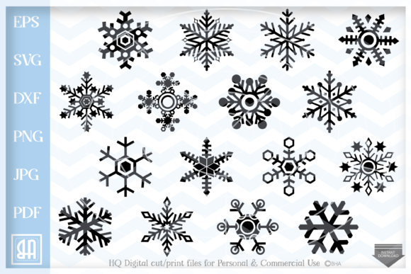 Download Free Snowflakes Christmas Bundle Graphic By Blueberry Hill Art for Cricut Explore, Silhouette and other cutting machines.