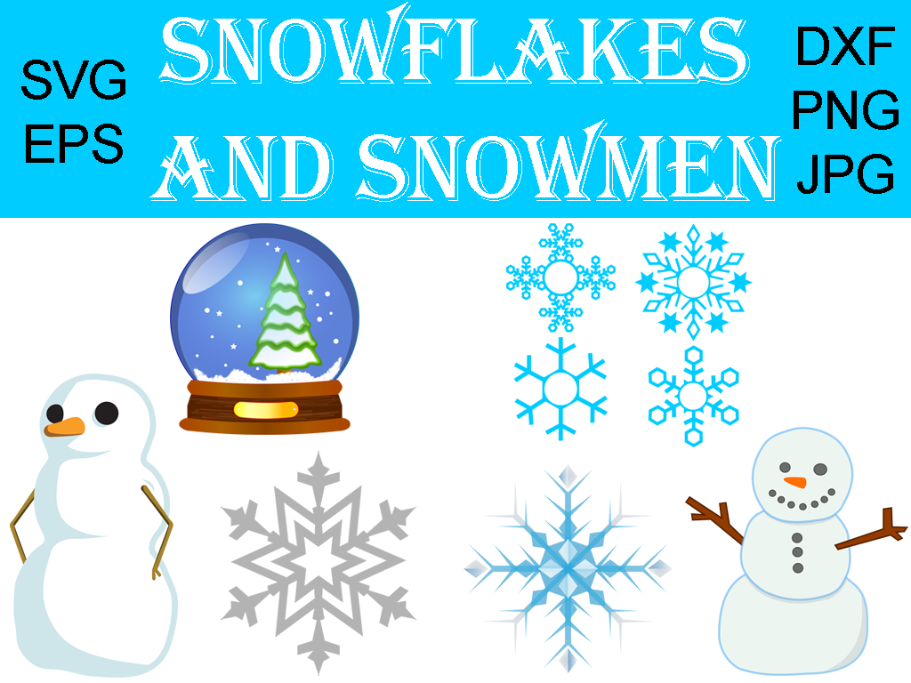 Download Free Snowflakes And Snowmen Graphic Bundle Graphic By Quiet Deluxe for Cricut Explore, Silhouette and other cutting machines.
