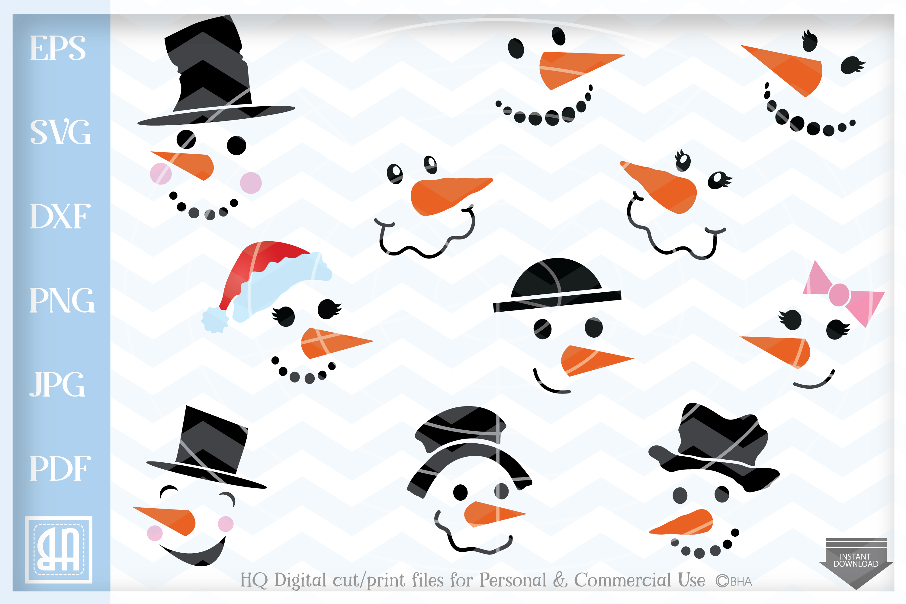 Download Free Snowman Faces Graphic By Blueberry Hill Art Creative Fabrica for Cricut Explore, Silhouette and other cutting machines.