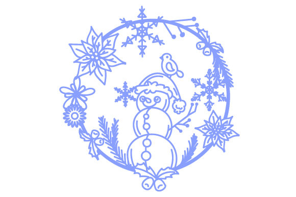 Snowman in a Floral Wreath with Snowflakes Intricate cuts Craft Cut File By Creative Fabrica Crafts