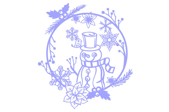 Download Free Snowman In A Floral Wreath With Snowflakes Svg Cut File By for Cricut Explore, Silhouette and other cutting machines.