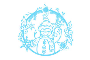 Snowman in a Floral Wreath with Snowflakes Craft Design By Creative Fabrica Crafts