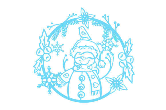 Snowman in a Floral Wreath with Snowflakes Craft Design By Creative Fabrica Crafts Image 1