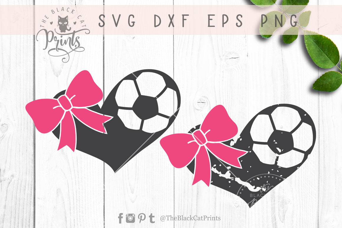 Download Free Soccer Hearts Bow Svg Graphic By Theblackcatprints Creative for Cricut Explore, Silhouette and other cutting machines.