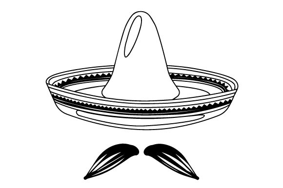 Sombrero Hat With Moustache Svg Cut File By Creative Fabrica