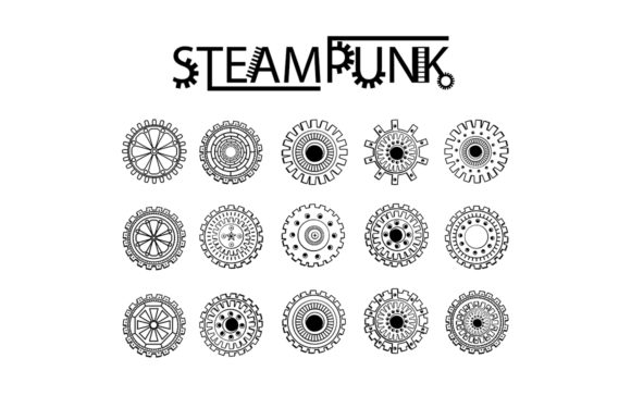 Steampunk Clipart + Coloring Pages! Graphic Coloring Pages & Books Adults By ilonitta.r - Image 3