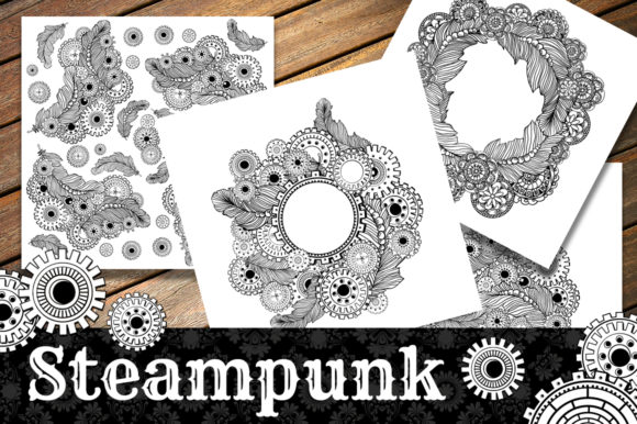 Steampunk Clipart + Coloring Pages! Graphic Coloring Pages & Books Adults By ilonitta.r - Image 4