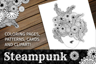 Steampunk Clipart + Coloring Pages! Graphic Coloring Pages & Books Adults By ilonitta.r