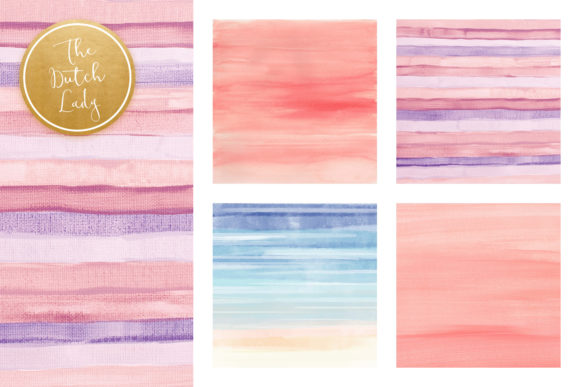 Print on Demand: Striped Watercolor Pattern Scrapbook Papers Graphic Patterns By daphnepopuliers - Image 2