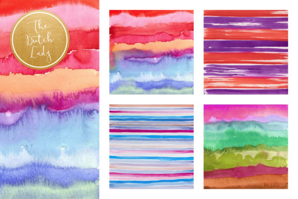 Print on Demand: Striped Watercolor Pattern Scrapbook Papers Graphic Patterns By daphnepopuliers - Image 3
