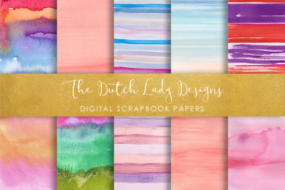 Print on Demand: Striped Watercolor Pattern Scrapbook Papers Grafik Muster von daphnepopuliers