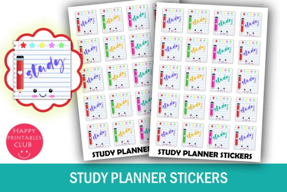 photograph relating to Study Planner Printable named Examine Planner Stickers